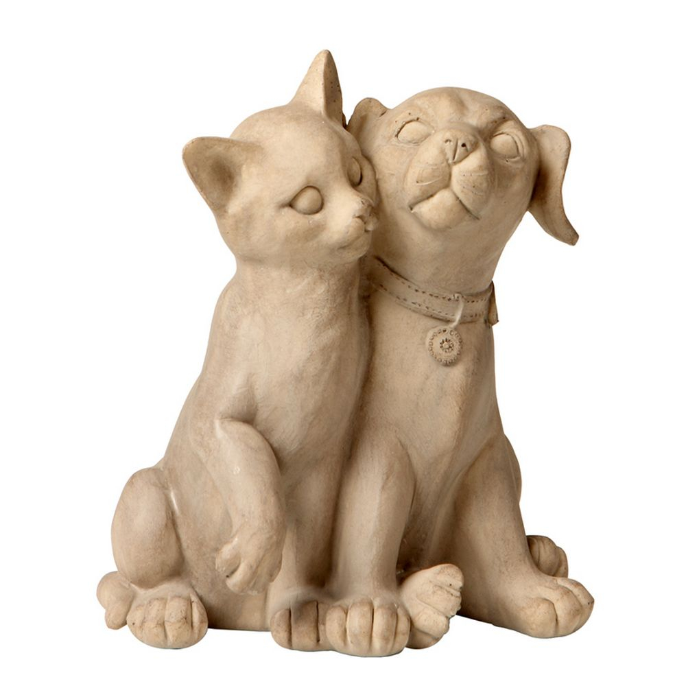 Escultura Decorativa de Resina Cat Dog